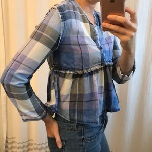 NWT Love Fire Distressed Blue Plaid Ruffle Crop